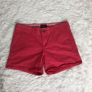 American Eagle Hot Coral/Pink Midi Jean Shorts